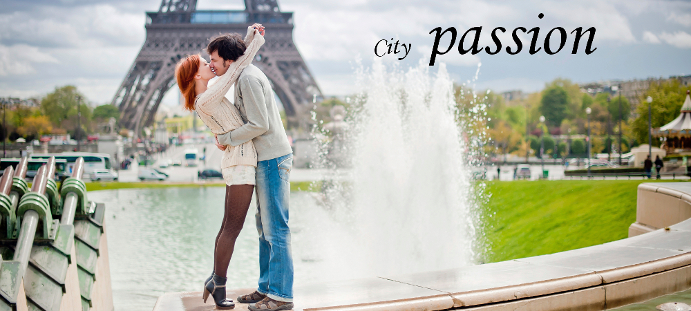 Lovers kissing in Paris