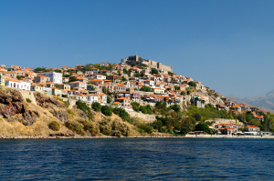 The Greek town of Molyvos on the Island of Lesvos built on a hillside